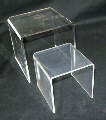 "Store Display Fixtures NEW 2 PIECE SET ACRYLIC RISERS 3""  & 4"" square"