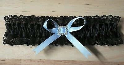 Wedding Garter Black With Blue Ribbon & Large Square Diamante Centre