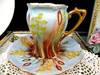Prussia tea cup and saucer chocolate cup painted  teacup Bavaria Germany 1930s