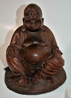 Antique Chinese Wood Carving Laughing Seated Buddha  7""