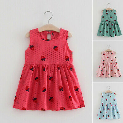 Baby Dress Girls Toddlers Summer Cotton Dress Round Neck Fashion Party Swing