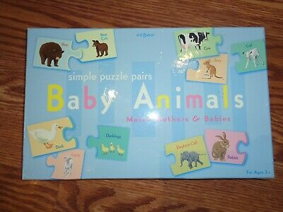 Eboo Baby Animals Puzzle Pairs Match Mom & Baby Or Read Names Beautiful Art Euc