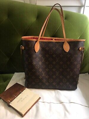 2019 Auth Louis Vuitton Monogram Neverfull MM Cherry Red Tote Bag Good Condition