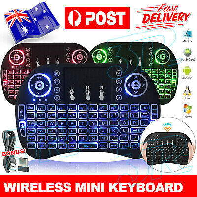 BACKLIGHT Mini Wireless Keyboard i8 2.4GHz with Touchpad for TV PC android AU