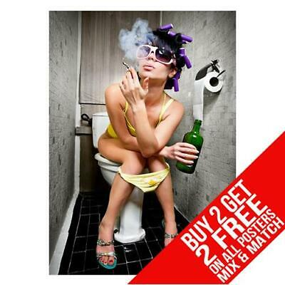 Party Girl On Toilet Smoking Bb2 Poster Print A4 A3 Size Buy 2 Get Any 2 Free