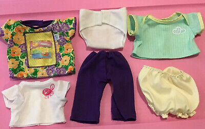 Cabbage Patch Doll Clothes Lot Of 6  Diaper 3 Tops Pants Bloomers EUC