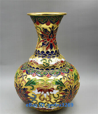 Collecting old Chinese Cloisonne Handwork carved  Flower Vase