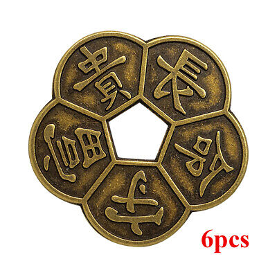 6pcs Ancient Bronze Chinese Old Copper Coin Traditional Charms Feng Shui