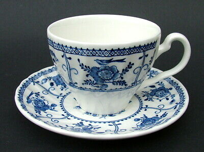 TWO Johnson Brothers Blue Indies Pattern 160ml Tea Cups & Saucers - Look in VGC