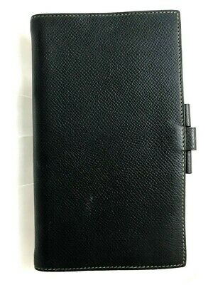 Authentic HERMES Agenda Black x Green Leather Notebook Cover France 5607710