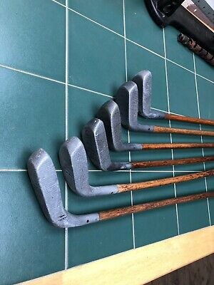 Hickory Golf Clubs Collection 6x Braid Mills Mallet Putters See Desc Playable