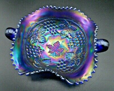 Stunning! Vintage Northwood Electric Blue Grape And Cable Carnival Glass Bonbon