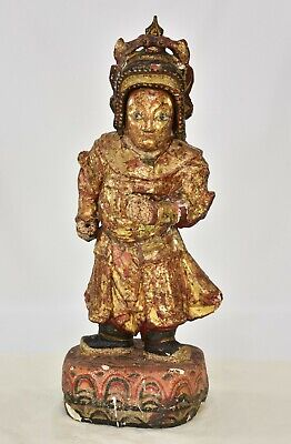 Antique Chinese Red & Gilt / Gilded Wooden Carved Statue, 19th c