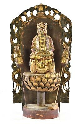 Antique Chinese Red Gilt Wood Carved Statue Figure Guan Yin / Kwan Yin, 19th c