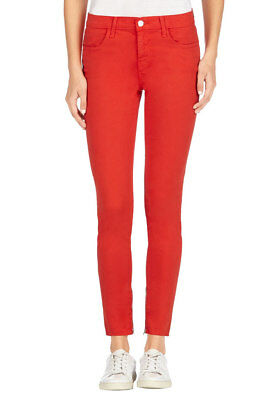 J Brand Womens New Luxe 8428V080 Zip Cropped Jeans Red Size 25