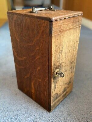 Antique Tiger Oak Wooden Microscope box w/ Key and lenses