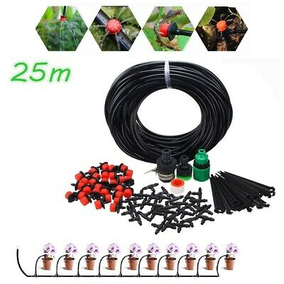 25m Tuyau d'Irrigation Jardin Kit Arrosage Automatique Connecteur Drip Spraying