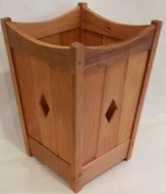 Arts and Crafts, Mission Waste Basket Cherry Wood