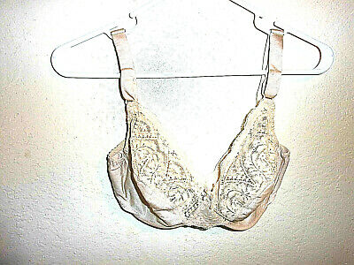 34D Vintage Vassarette Unlined Satin & Lace Full Coverage Underwire Bra 4375