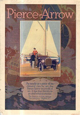 1915 Pierce Arrow Touring car Original color ad from The Outlook -  Sailing