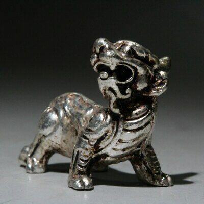 Collectable China Handwork Miao Silver Carve Myth Animal Unique Exorcism Statue