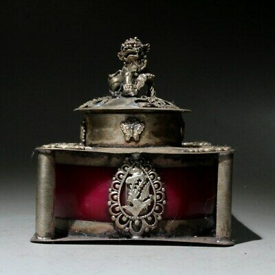 AAA Qianlong Years Collect Old Miao Silver Carve Dragon & Phoenix Incense Burner