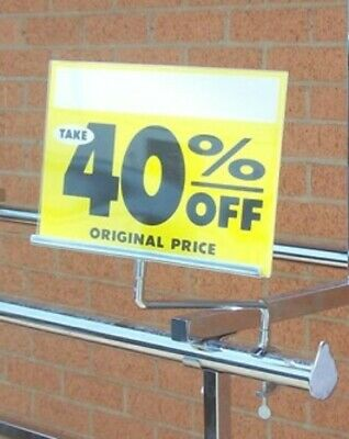 Store Display Fixtures 2 ACRYLIC SWIVEL SIGN HOLDER FOR DOUBLE BAR H RACKS