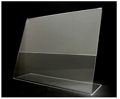 "Store Display Fixtures 2 NEW ACRYLIC SLANT SIGN HOLDER 3.5"" HIGH X 5.5"" WIDE"