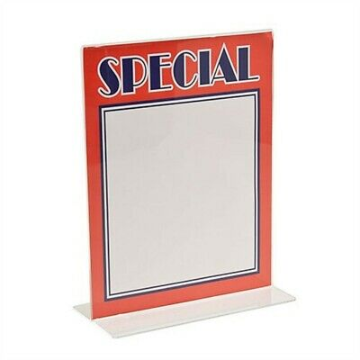 "Store Display Fixtures  2 NEW ACRYLIC BOTTOM LOAD SIGN HOLDERS 7"" TALL X 5"" WIDE"