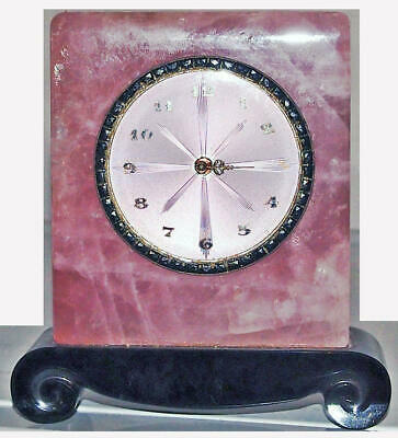 Antique Sterling Silver Guilloche Enamel Clock Pink Quartz &Black Onyx Art Deco