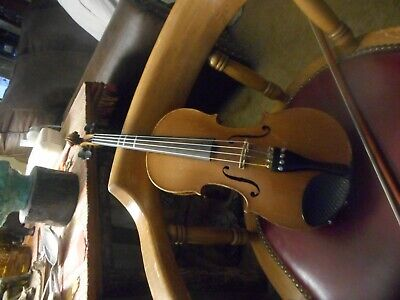 Vintage Andrea Amati Fecit Cremonea Violin And Bow No Case Imported Salvador N.y