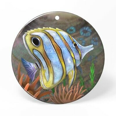 Hand Painted Fish Shell Necklace Pendant HB12 0063