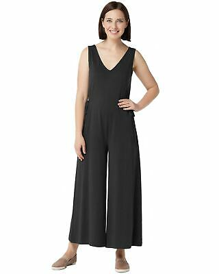 AnyBody Womens Petite Cozy Knit Wide-Leg Jumpsuit X-Small Black A354734