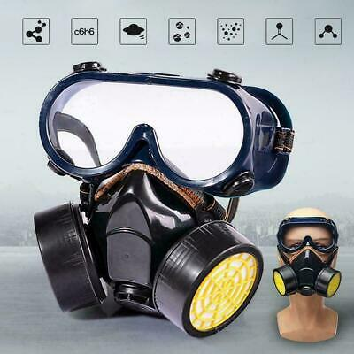 HOT Respirator Mask Chemical Gas Mask with Goggles Emergency Dual & 2 Protection