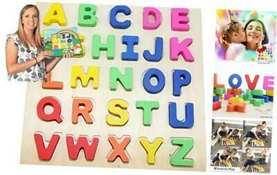 Wooden-Alphabet-Toddler Puzzles-Toys for 2 to 3 Year Olds Kids with Big Bright
