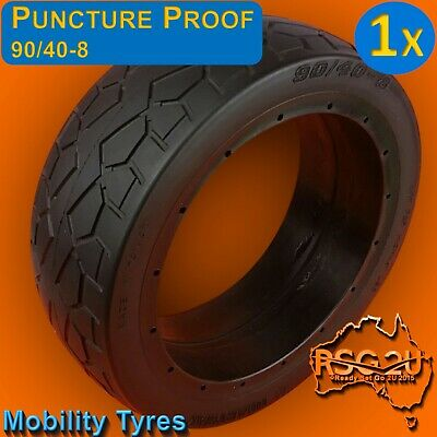 "11""x3.5"" MOBILITY TYRES PUNCTURE PROOF 90/40-8 HEARTWAY RUBBER FILLED FREE POST"