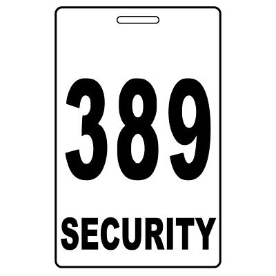 Security Card Number PVC White Guard Crowd Controller Tag ID Plastic Custom