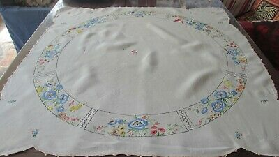 Antique Hand Embroidered Flowers Linen Tablecloth 108  x 105 cms beautiful work