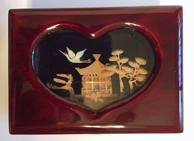 Chinese Wooden Box W/ Cork Sculpture Shadow Box Lid, Crane, Trees Temple NEW OS