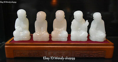 "11"" Unique Natural White Jade Carving Tongzi Kid Monk Buddhist Temple Statue Set"