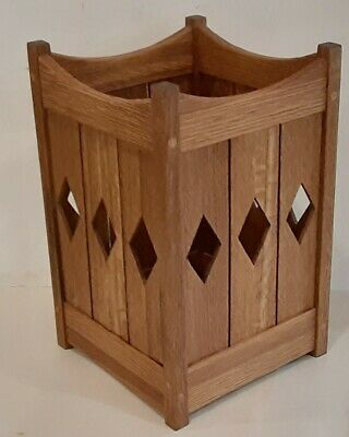 Mission Style Quartersawn Oak Wastebasket