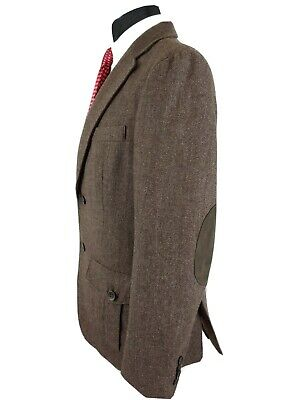 Tasso Elba Mens Wool Brown Tweed Sport Coat Hunting Jacket Suede Elbow S 36/38R