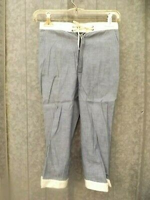 Retro Atomic Vtg 1960s New Girls Sz 10 Blue Chambray Lace Up Waist Ankle Pants