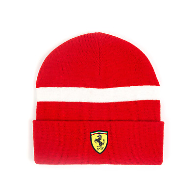 HAT Beanie Knitted Formula One 1 Scuderia Ferrari F1 Team NEW! Red White Stripe