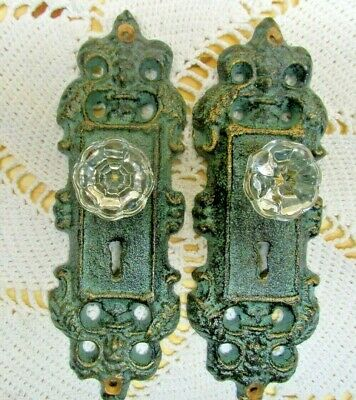 VINTAGE STYLE DOOR PLATES  with  ACRYLIC/GLASS KNOBS,  ANTIQUE TEAL/GREEN,