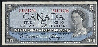 1954 Bank Of Canada Devil's Face 5 Dollars Bank Note Beattie
