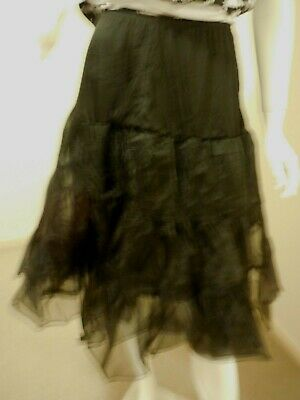 Rock And Roll Black Full Mesh Petticoat  Size 14 Elastic Waist