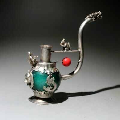 Collectable China Handwork Miao Silver Agate Carve Dragon Noble Cigarette Holder