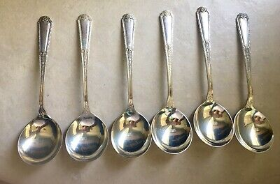 "6 Towle Louis XIV Sterling Silver Cream Gumbo Soup Spoons 6-1/4""  NO Mono 7 oz"