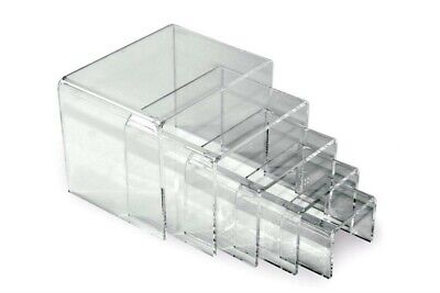 """Store Display Fixtures 5 Piece Set NEW ACRYLIC DISPLAY RISERS 4"""" to 6"""" wide"""
